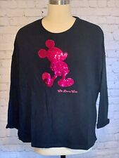 Walt Disney World Black Pink Holographic Double Sequins Embroidered Sweatshirt L