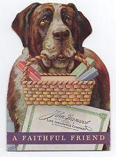 1930s Die Cut Advertising Card with St Bernard Dog John Hancock Insurance