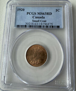 1920 canada one cent PCGS MS63RD