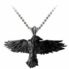 Alchemy Gothic Black Raven Pendant Necklace with Ball Chain - Crow England