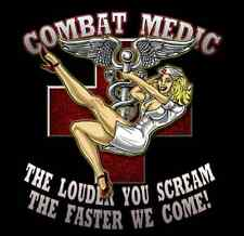 "ARMY COMBAT MEDIC PINUP GIRL MILITARY 4"" AUTO CAR STICKER DECAL EMBLEM USA MADE"