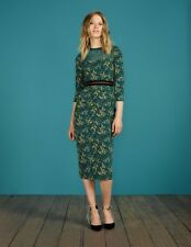 (162) Boden green floral Hettie fitted silk dress with mesh panel size UK 8