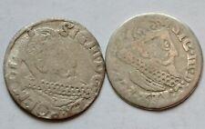 2 x 3 Groschen 1621 and1624,3 Grosze, Poland Trojak, king Sigismund III