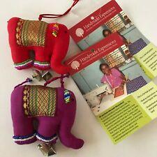 Pair of Elephant Christmas Ornaments Handmade Expressions India Fair Trade Bead