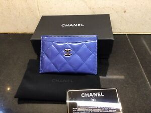 Authentic Chanel Blue Patent Leather Card Holder Purse Wallet