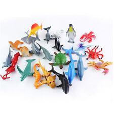 24pcs/set Plastic Ocean Animals Figure Sea Creatures Model Toys Dolphin Turtle