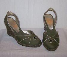 TOMMY HILFIGER Olive Green Slingback Wedge 6 M Women's Heels Shoes SH17 *NEW