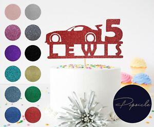 Personalised Race Car Birthday Glitter Cake Topper
