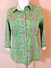 Talbots Paisley Green Pink Wrinkle Resistant Button Down Shirt Women's 12 M B14