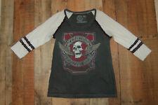Women's Affliction Skull 3/4 Sleeve Shirt Gray Size Large Cotton