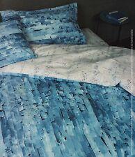 Completo Copripiumino Lenzuola Matrimoniale Life Lines Torn Azzurro Blu Bassetti