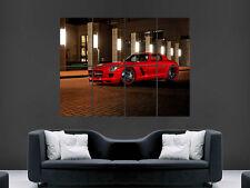 MERCEDES Benz SLS AMG auto veloce GIALLO POSTER WALL ART PICTURE grande gigante