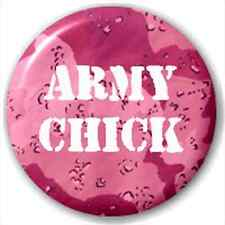 Small 25mm Lapel Pin Button Badge Novelty Army Chick
