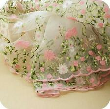 """1 Yard Lace Fabric Organza Pink Flower Embroidered Girls Dress Sewing Fabric 51"""""""