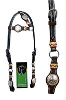 Western Dark Oil One Ear Rawhide Braided Headstall with Conchos and Rings