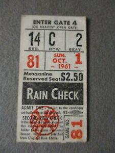RARE Roger Maris 61st Home Run Ticket Stub ~ Oct. 1, 1961