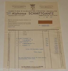 FACTURE mai 1969 : VINS FINS D'ALSACE Alphonse SCHMITTGANTZ à RIBEAUVILLE