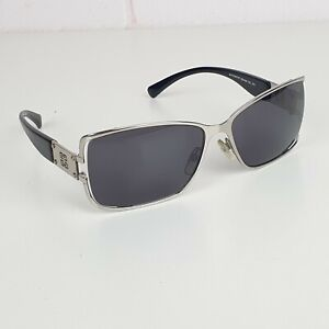 Authentic Givenchy Sunglasses Silver Square Frames Black Lenses SGV 248 COL 579