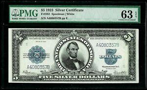 1923 US $5 SILVER CERTIFICATE PORTHOLE NOTE PMG CHOICE UNC 63 EPQ FR. # 282
