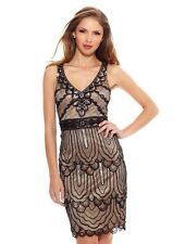 NEW SUE WONG BLACK NUDE BEADED SHORT FORMAL PARTY COCKTAIL EVENING DRESS SIZE 12