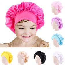Kids Girl Satin Night Sleep Cap Hair Care Bonnet Elastic Wide Band Hat Head Wrap