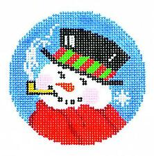 """*New* Lee Snowman in Top Hat w/ Pipe handpainted Needlepoint Canvas 3"""" Rd. 18m"""