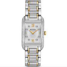 Bulova Women's 98R227 Quartz Diamond Accent Rectangle Case 34.5mm Band Watch