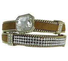 Armband Wickelarmband hellbraun golden und Strass Steinen