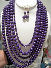 Five Layers Purple Lucite Bead Necklace earring Set