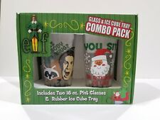 Elf the Movie Combo Pack Collectible 2 16 oz Pint Glass and RubberIce Cube tray