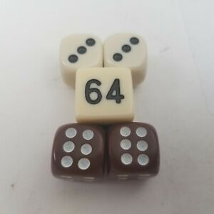 Backgammon Game Replacement Brown & White Dice and Doubling Cube