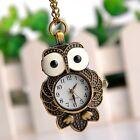 Fashion Retro Bronze Owl Pendant Antique Necklace Pocket Watch