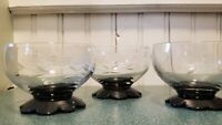 Vintage Set of 3 Westen Glass Lily Pad Black Foot Sherbet Etched  Glasses