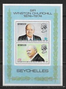SEYCHELLES , 1974 , CHURCHILL , SOUVENIR SHEET , PERF , MNH
