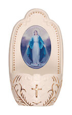 VIRGIN MARY OUR LADY PORCELAIN HOLY WATER FONT - STATUES CANDLES PICTURES LISTED