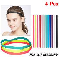 4Pcs Sports Hair Band Anti Slip Thin Single Elastic Rubber Headband Gym Yoga