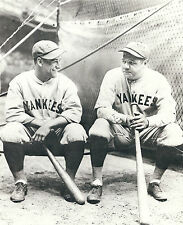 NY YANKEE ICONS BABE RUTH LOU GEHRIG ENOY A LAUGH WAITING FOR BATTING PRACTICE