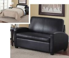 Black Leather Sleeper Loveseat Convertible Twin Bed Mattress Small Space Beds