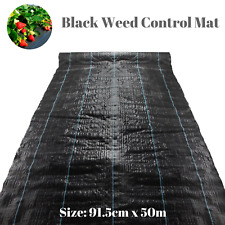 50M Black Weeding Mat Weed Control Fabric Mat Cover Soil UV Resistant Durable