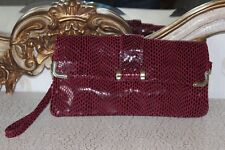 HOTTER - wine texturised genuine leather shoulder/clutch bag Brand new