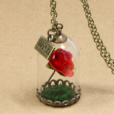 The Little Prince's Rose Flower In Glass Cover Pendant Necklace with Wish Charm