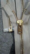 "USA VTG RARE NOS Jacket Zipper TALON #10 Separating Metal BRASS 28"" TAN / COTTON"