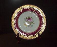 Royal Cauldon Dinner Plate Pattern v9601 Dresden Flowers Maroon Band