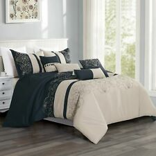 Hgmart 7 Piece Microfiber Bedding Comforter Set Bed In A Bag, King,Beige&Blue