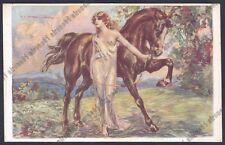 TITO CORBELLA Illustratore ART DECO DONNINA LADY with HORSE NUDE Cartolina 1921