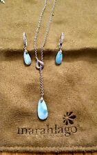 BOGO Marahlago Larimar Sterling Eterna Necklace & Earrings w/ Diamonds