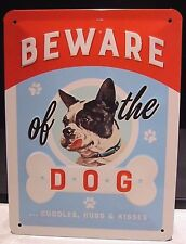 BEWARE OF THE DOG,  20x15cm SMALL  , EMBOSSED (3D) METAL WALL SIGN, DOGS