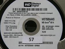 750 GB Western Digital WD 7500 caaks - 00rba0/harnna 2aab/oct 2007 HARD DISK #07