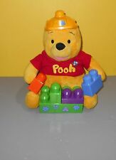 "11"" Winnie The Pooh Mega Bloks Blocks Pooh Bear Plush Stuffed Animal Toy Doll"
