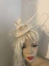Fascinator Ivory Cream Pillbox Wedding Hat Formal Headpiece Hatinator Veil Dots
